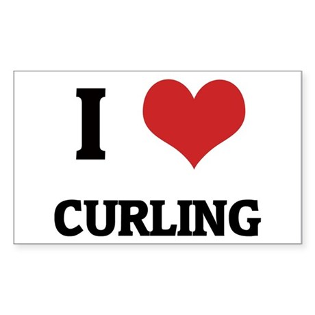 I Love Curling Rectangle Sticker