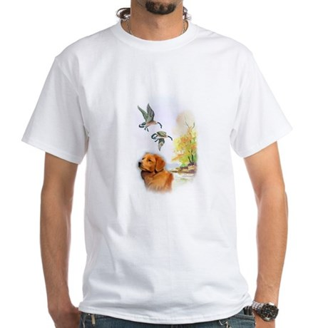 Duck Toller with geese White T-Shirt