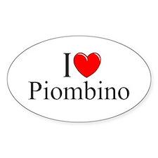 """I Love (Heart) Piombino"" Oval Decal"