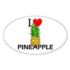I Love Pineapple Oval Decal