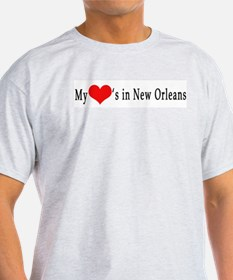 My Heart's in New Orleans Ash Grey T-Shirt