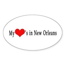 My Heart's in New Orleans Oval Decal
