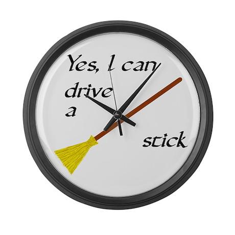 Drive a Stick Large Wall Clock