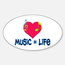 Music = Life Oval Decal