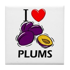 I Love Plums Tile Coaster