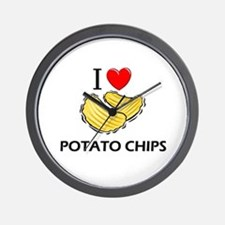 I Love Potato Chips Wall Clock