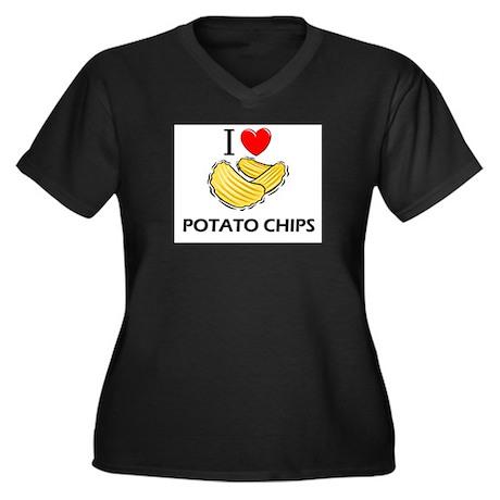 I Love Potato Chips Women's Plus Size V-Neck Dark