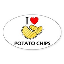 I Love Potato Chips Oval Decal