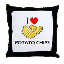 I Love Potato Chips Throw Pillow