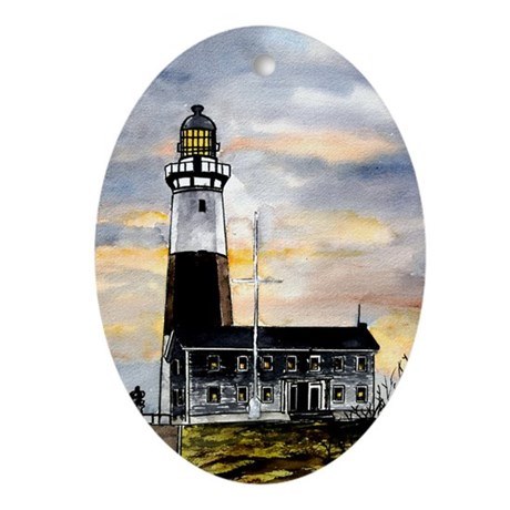 Montauk Point lighthouse New Oval Ornament