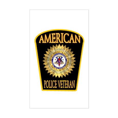 American Police Veterans Patc Sticker (Rectangular