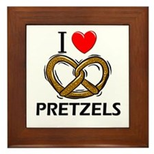 I Love Pretzels Framed Tile