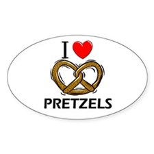 I Love Pretzels Oval Decal