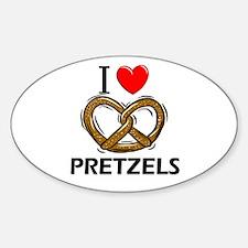 I Love Pretzels Oval Decal