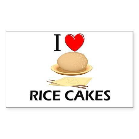 I Love Rice Cakes Rectangle Sticker