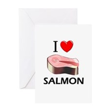 I Love Salmon Greeting Card