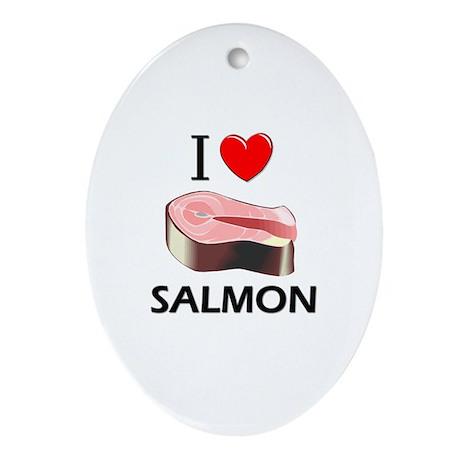 I Love Salmon Oval Ornament