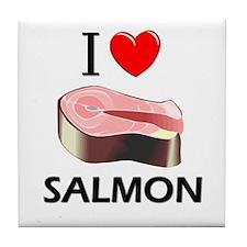 I Love Salmon Tile Coaster