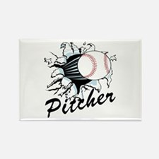 Fast ball Pitcher Rectangle Magnet