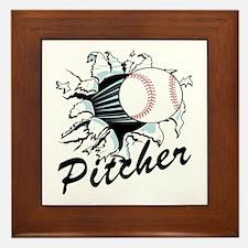 Fast ball Pitcher Framed Tile
