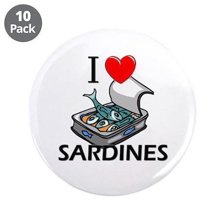"I Love Sardines 3.5"" Button (10 pack)"