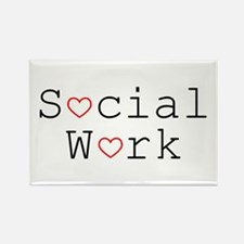 Social Work Hearts Rectangle Magnets (10 pack)