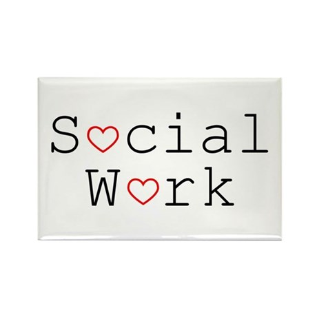Social Work Hearts Rectangle Magnet