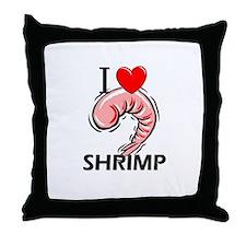 I Love Shrimp Throw Pillow