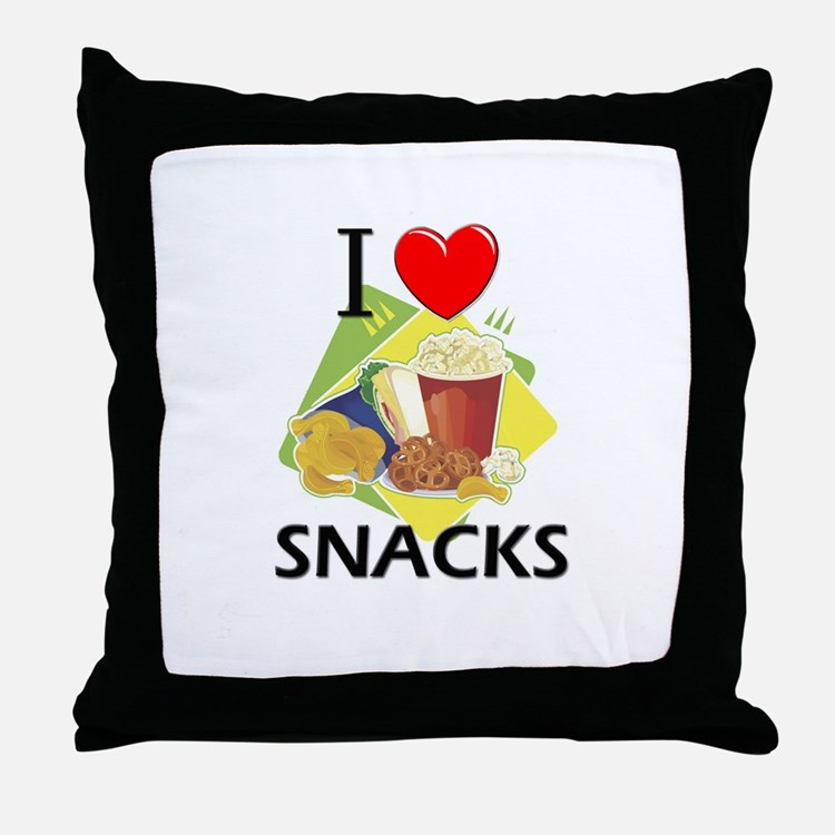 I Love Snacks Throw Pillow