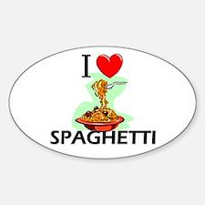 I Love Spaghetti Oval Decal