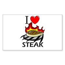 I Love Steak Rectangle Decal