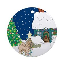 Christmas Lights Chowchow Ornament (Round)