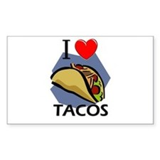 I Love Tacos Rectangle Decal