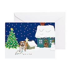 Christmas Lights Bulldog Greeting Card
