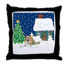 Christmas Lights Bulldog Throw Pillow