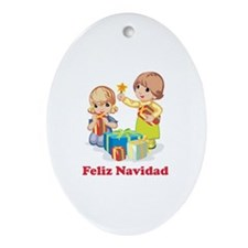 Cute Happy holidays Oval Ornament