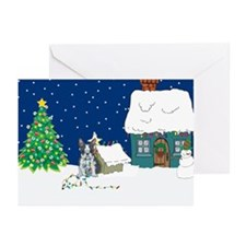 Christmas Lights Boston Terrier Greeting Cards (Pk
