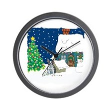 Christmas Lights Boston Terrier Wall Clock