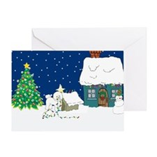 Christmas Lights Bichon Frise Greeting Card