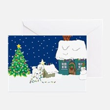 Christmas Lights Bichon Frise Greeting Cards (Pk o