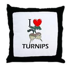I Love Turnips Throw Pillow