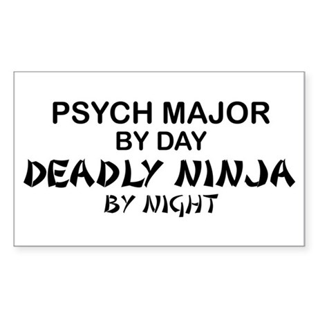 Psych Major Deadly Ninja by Night Sticker (Rectang