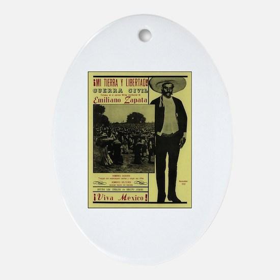 Emiliano Zapata Poster Oval Ornament