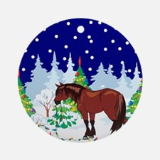 Christmas Lights Clydesdale Ornament (Round)