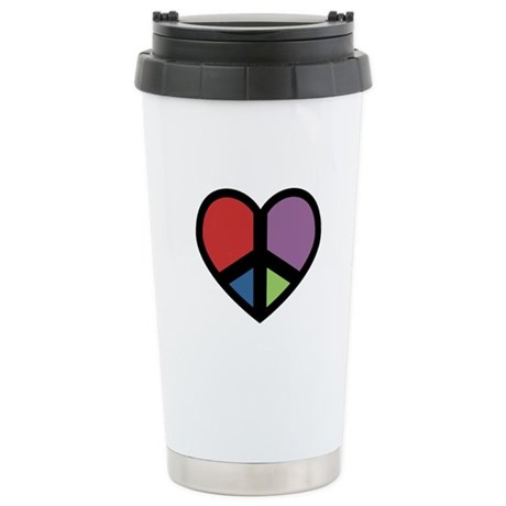 Peace Sign in a Heart Stainless Steel Travel Mug
