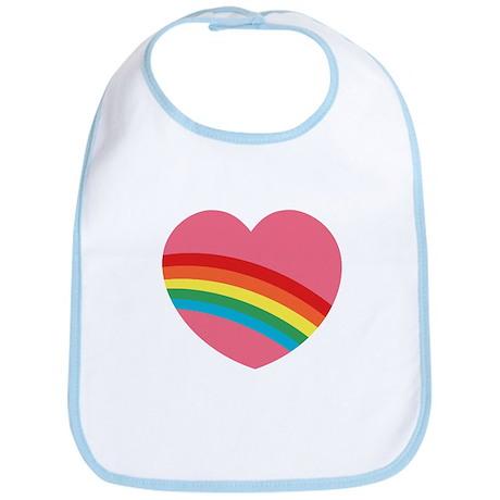 80s Rainbow Heart Bib
