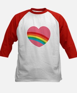 80s Rainbow Heart Kids Baseball Jersey