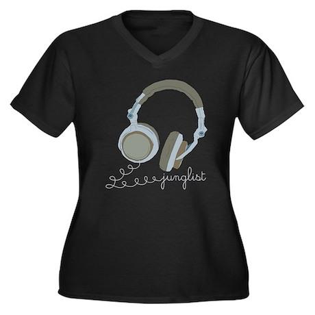 Junglist Headphones Women's Plus Size V-Neck Dark