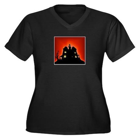 Haunted House Women's Plus Size V-Neck Dark T-Shir