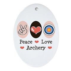 Peace Love Archery Oval Ornament